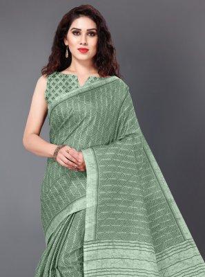 Khadi Silk Contemporary Saree in Green