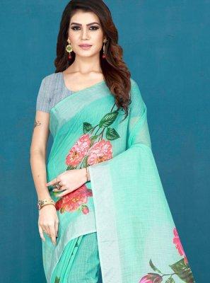 Khadi Silk Multi Colour Printed Printed Saree