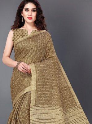 Khadi Silk Printed Saree in Brown
