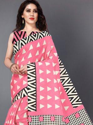 Khadi Silk Printed Saree in Pink
