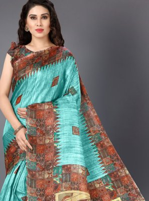Khadi Silk Printed Turquoise Classic Saree