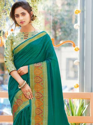 Khadi Silk Weaving Classic Designer Saree in Green