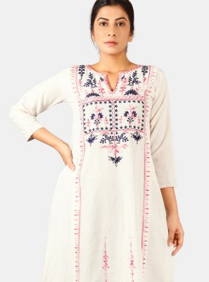 Khadi White Embroidered Designer Kurti