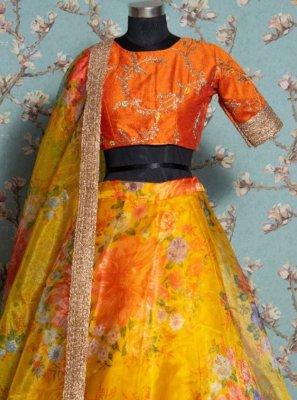 Khadi Yellow Floral Print Trendy Lehenga Choli
