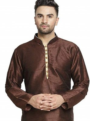 Kurta Embroidered Art Dupion Silk in Brown