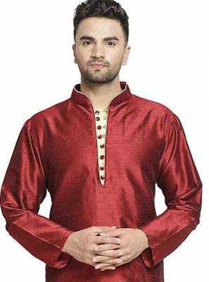 Kurta Embroidered Art Dupion Silk in Maroon