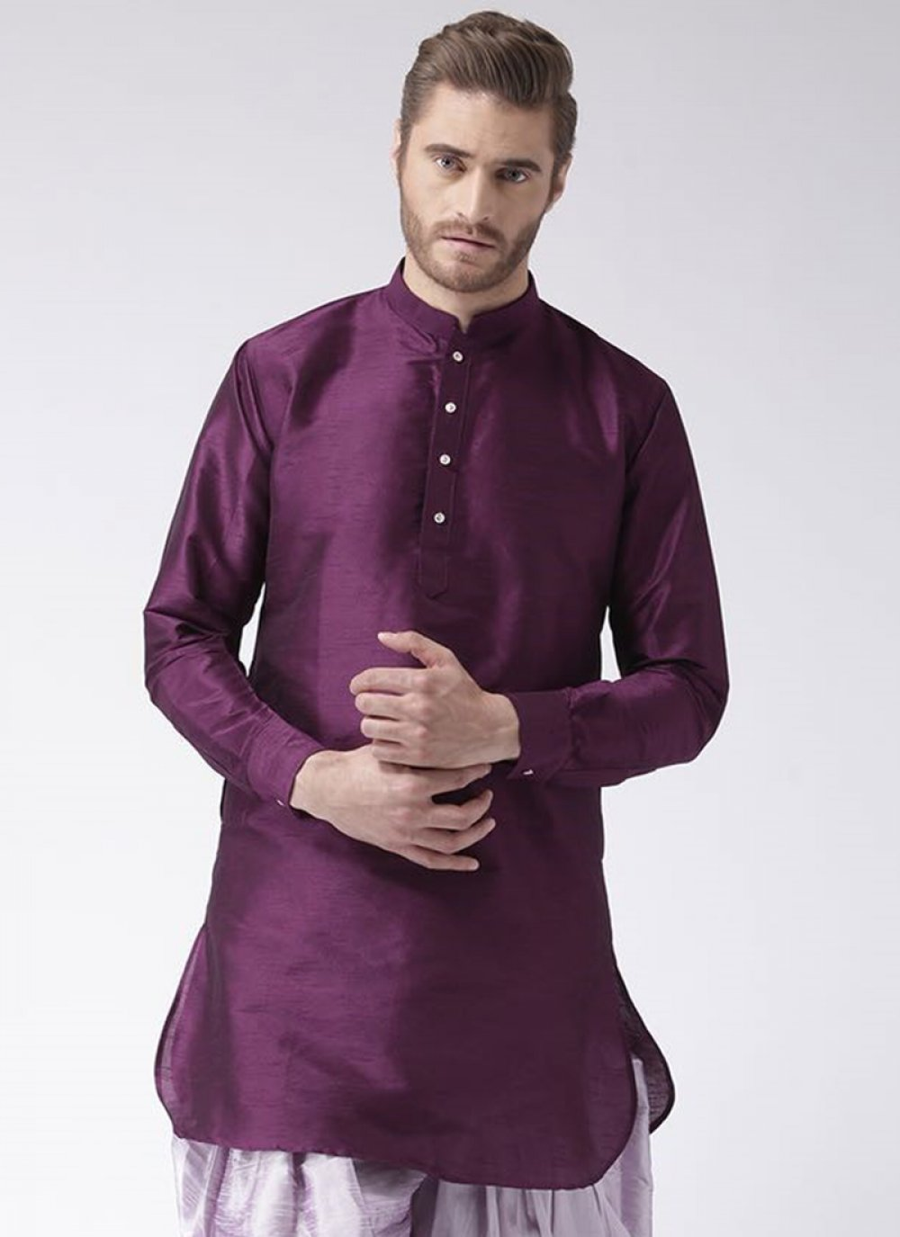 Kurta Plain Art Dupion Silk in Purple