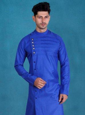Kurta Plain Cotton in Aqua Blue