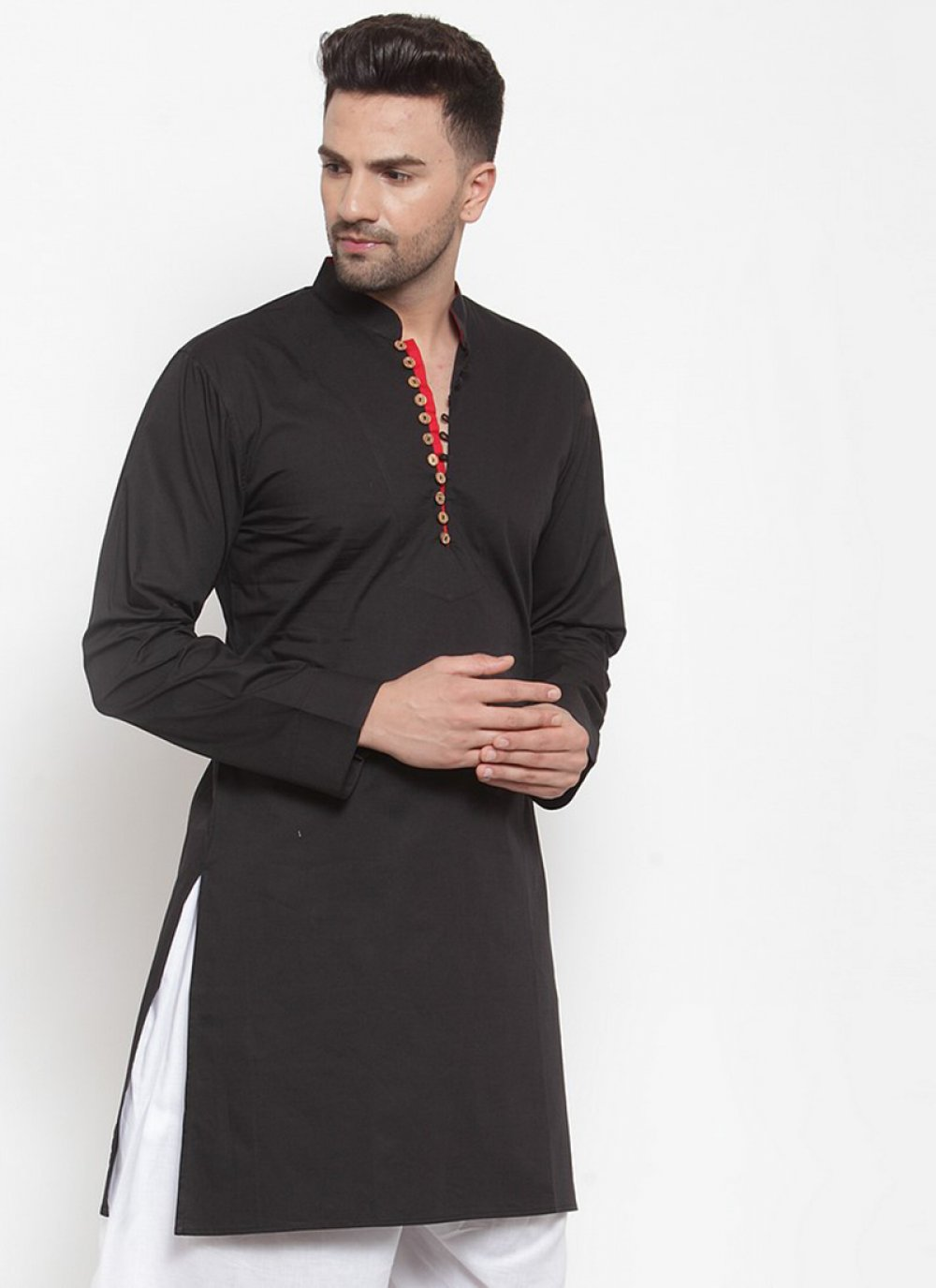 Kurta Plain Cotton in Black