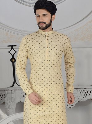 Kurta Pyjama Digital Print Cotton in Cream