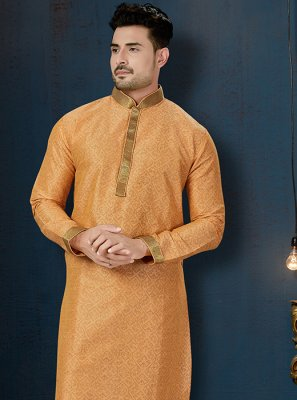 Kurta Pyjama Embroidered Art Dupion Silk in Peach
