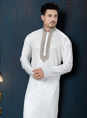 Kurta Pyjama Embroidered Cotton in Off White