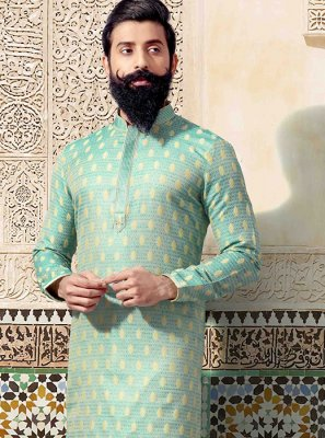 Kurta Pyjama Embroidered Jacquard in Green