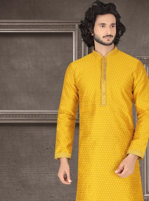 Kurta Pyjama Embroidered Jacquard in Mustard
