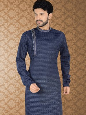 Kurta Pyjama Embroidered Poly Cotton in Blue
