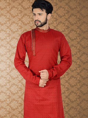 Kurta Pyjama Embroidered Poly Cotton in Red