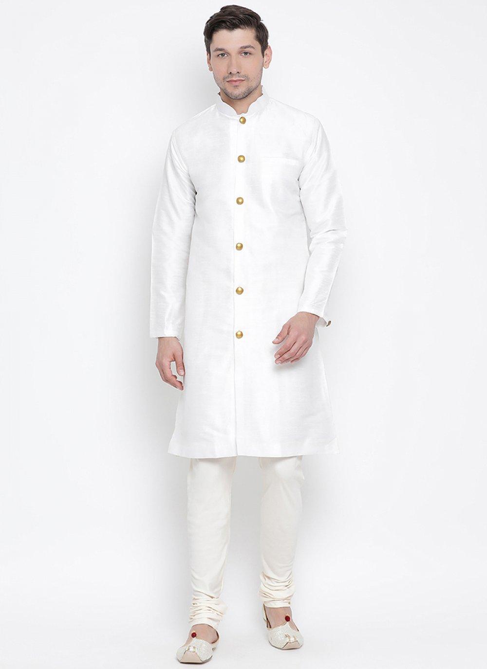Kurta Pyjama Plain Art Banarasi Silk in White