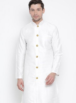 Kurta Pyjama Plain Art Banarasi Silk in White