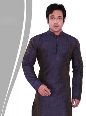 Kurta Pyjama Plain Art Dupion Silk in Purple