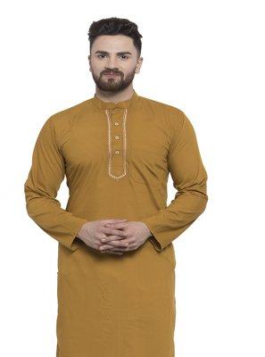 Kurta Pyjama Plain Blended Cotton in Mustard
