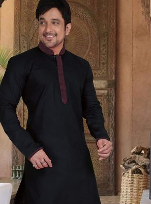 Kurta Pyjama Plain Cotton in Black