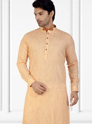 Kurta Pyjama Plain Cotton in Peach