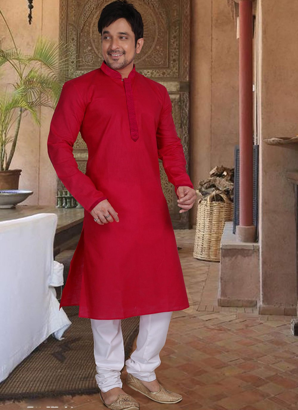 Kurta Pyjama Plain Cotton in Red