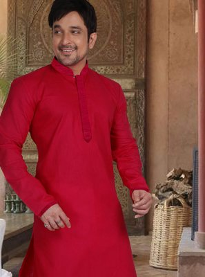 Kurta Pyjama Plain Cotton in Red