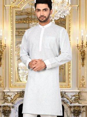 Kurta Pyjama Plain Cotton in White