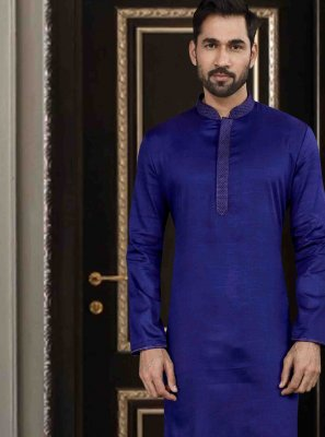 Kurta Pyjama Printed Art Silk in Navy Blue