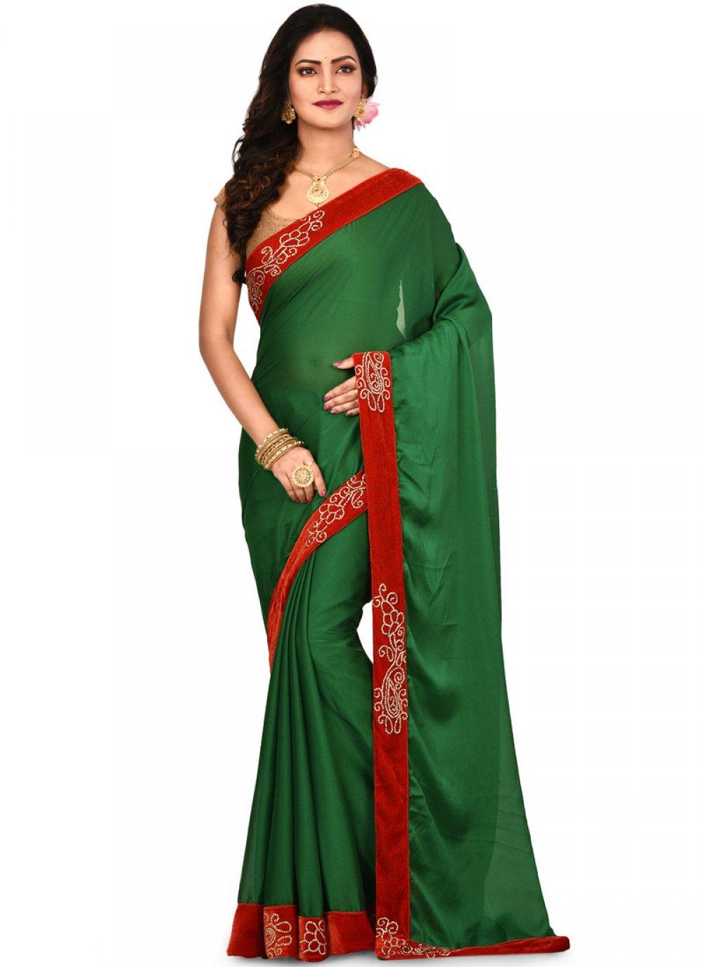 Lace Art Silk Designer Saree in Green