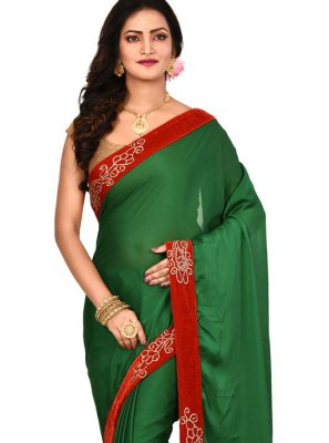 Lace Art Silk Designer Saree in Green