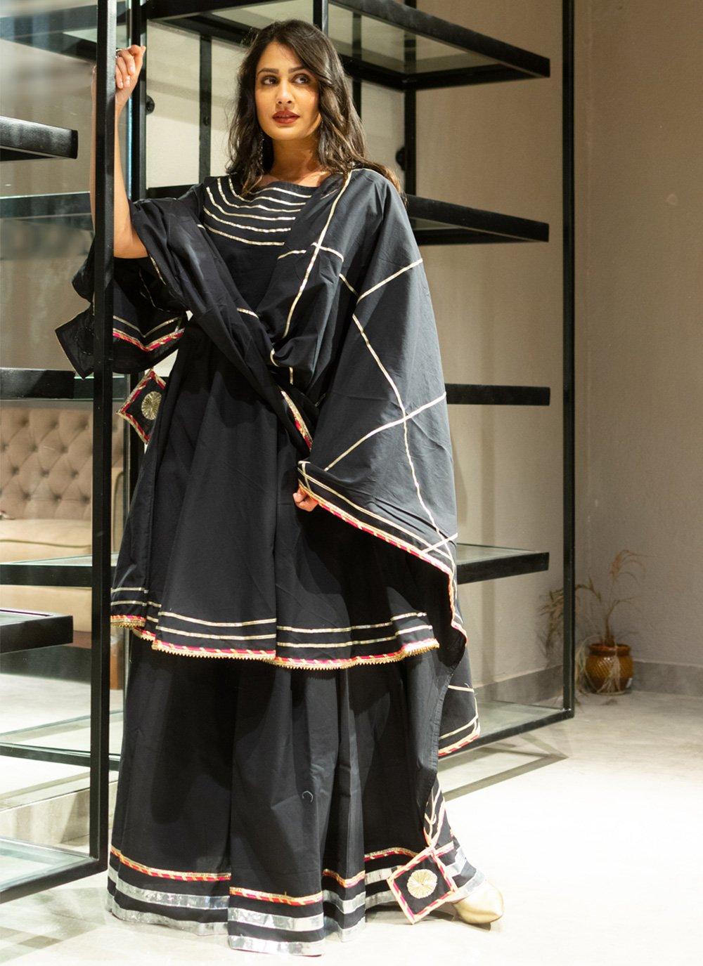Lace Black Cotton Lehenga Choli