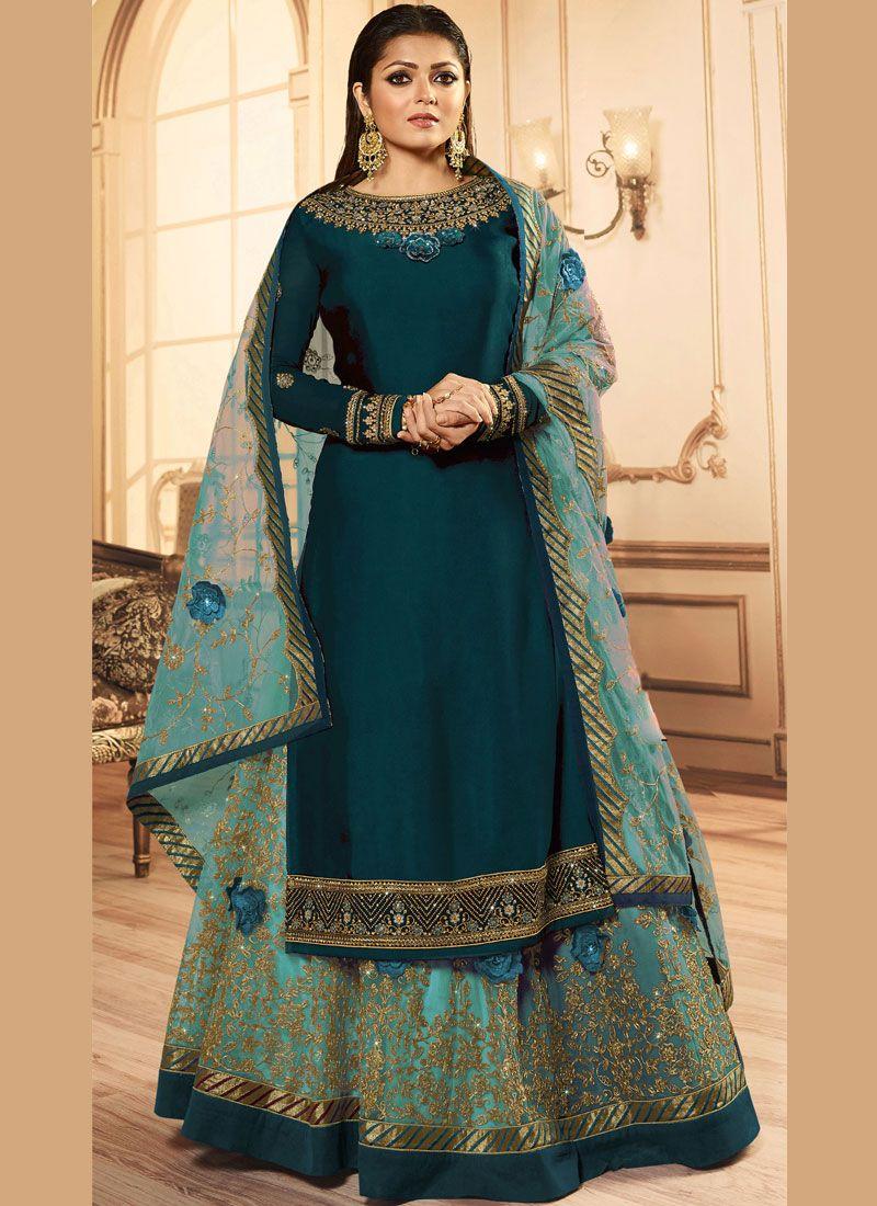 Lace Blue Drashti Dhami A Line Lehenga Choli