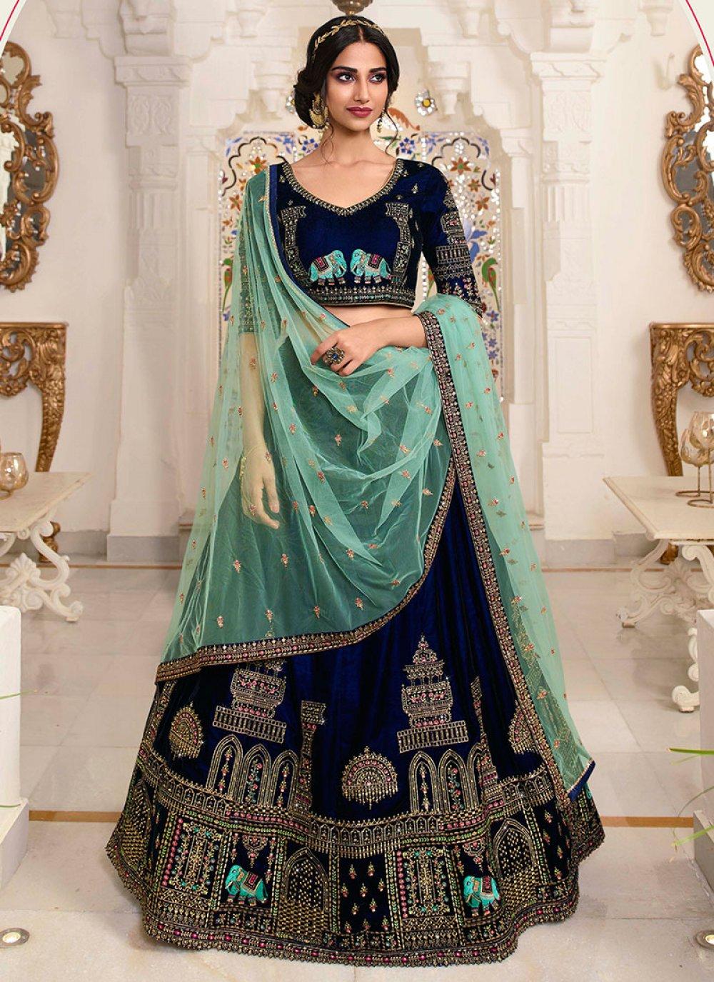 Lace Blue Net Lehenga Choli