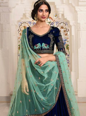 Lace Blue Net Lehenga Choli