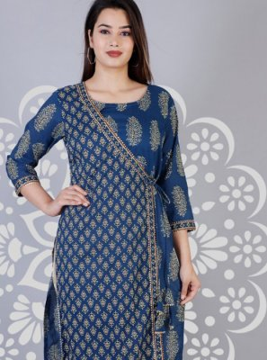 Lace Cotton Blue Casual Kurti