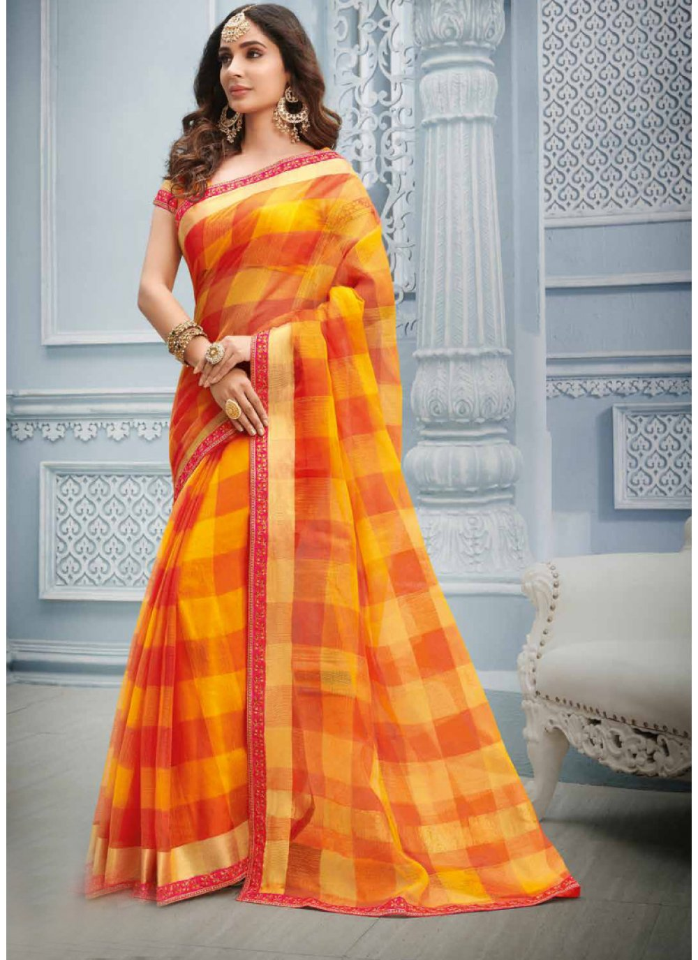 Lace Cotton Multi Colour Casual Saree