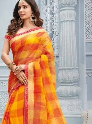 Lace Cotton Multi Colour Casual Saree