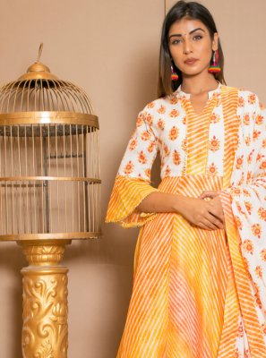 Lace Cotton Readymade Salwar Kameez in Mustard