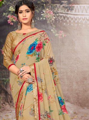 Lace Faux Georgette Casual Saree