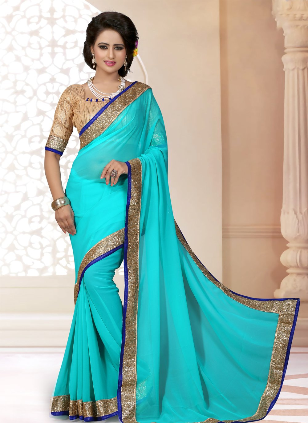 Lace Georgette Saree in Blue