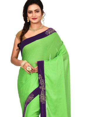 Lace Green Art Silk Designer Saree