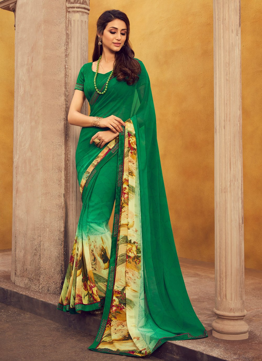 Lace Green Georgette Casual Saree