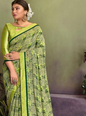Lace Green Georgette Classic Designer Saree