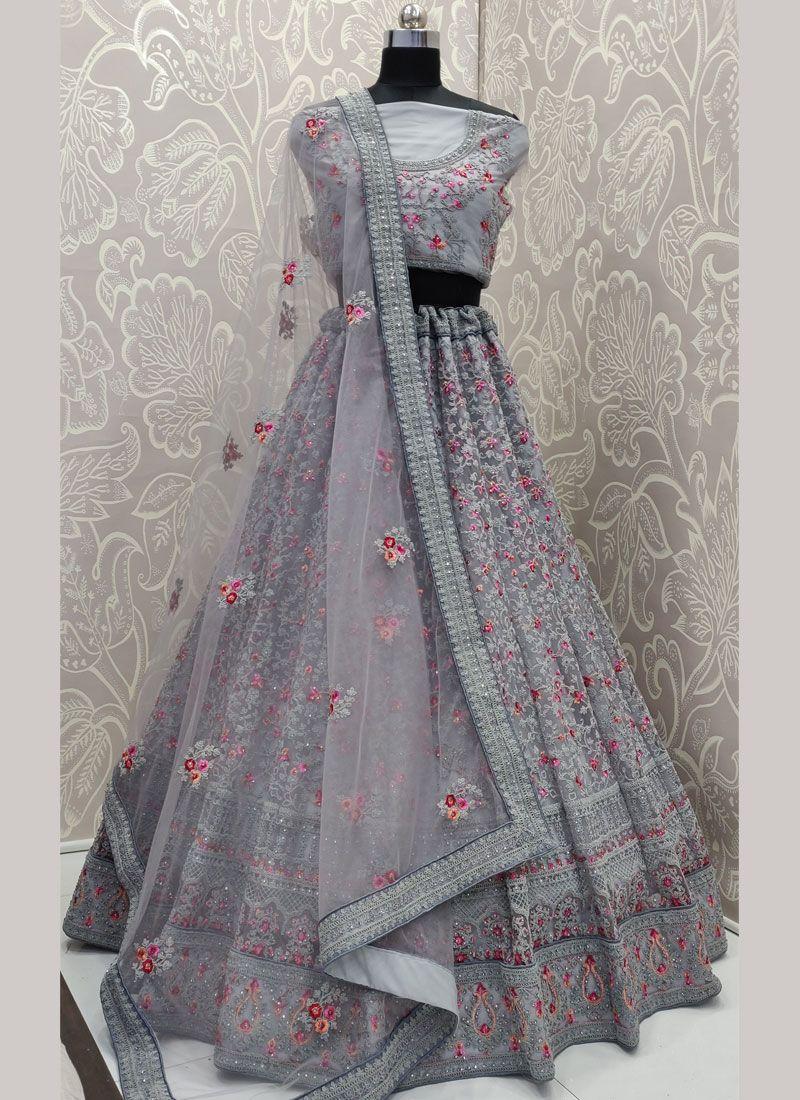 Lace Net Trendy A Line Lehenga Choli
