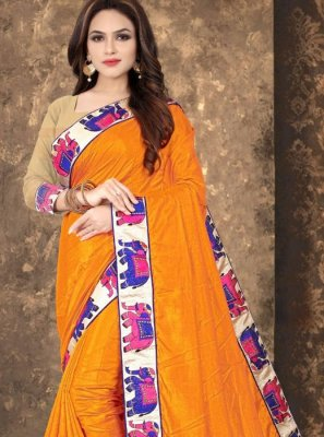 Lace Orange Designer Saree