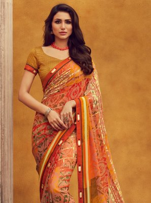 Lace Orange Designer Traditional Saree