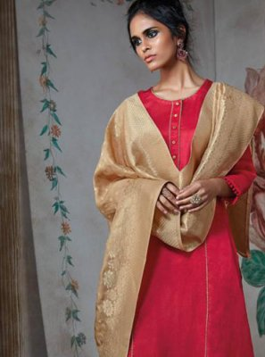 Lace Pink Satin Designer Salwar Suit
