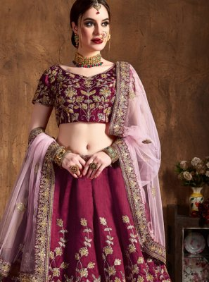 Lace Raw Silk Lehenga Choli